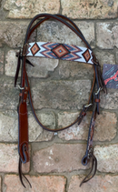 Headstall, Beaded Aztec Brown