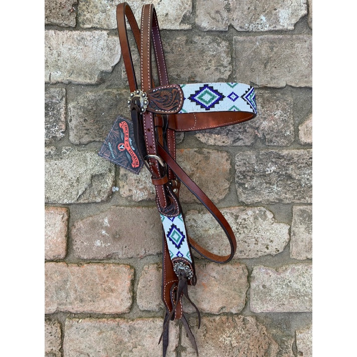 Headstall, Beaded Aztec Blue