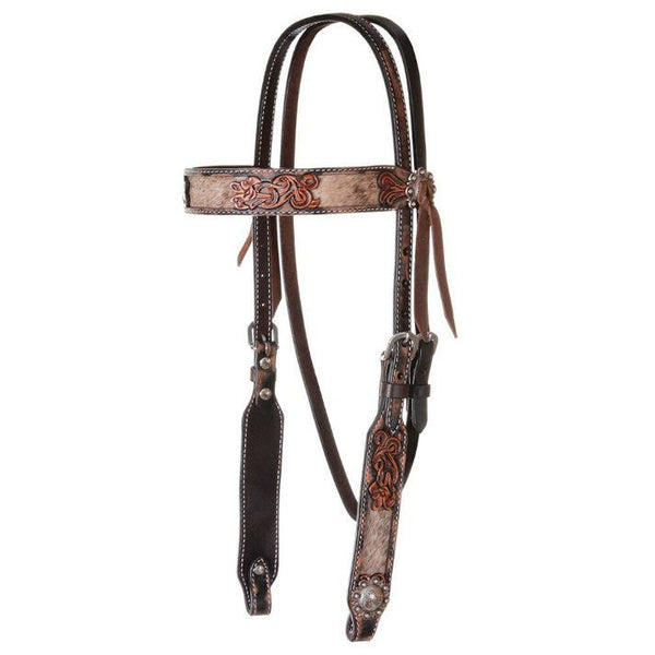 Headstall, Distressed Filigree Hair on Hide