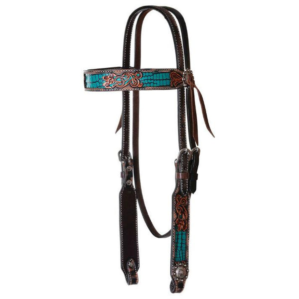 Headstall, Distressed Gator Turquoise Inlay