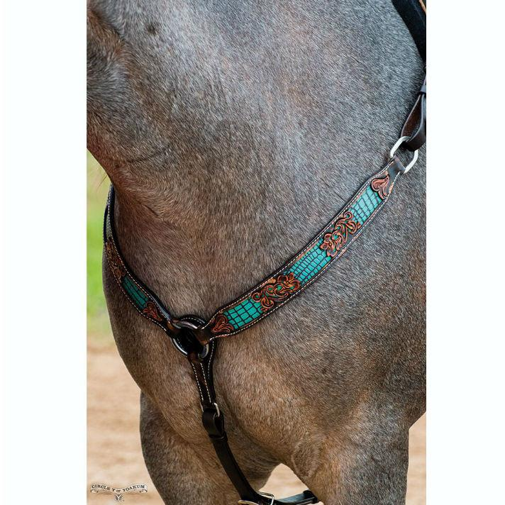 Breast Collar, Distressed Gator Turquoise Inlay