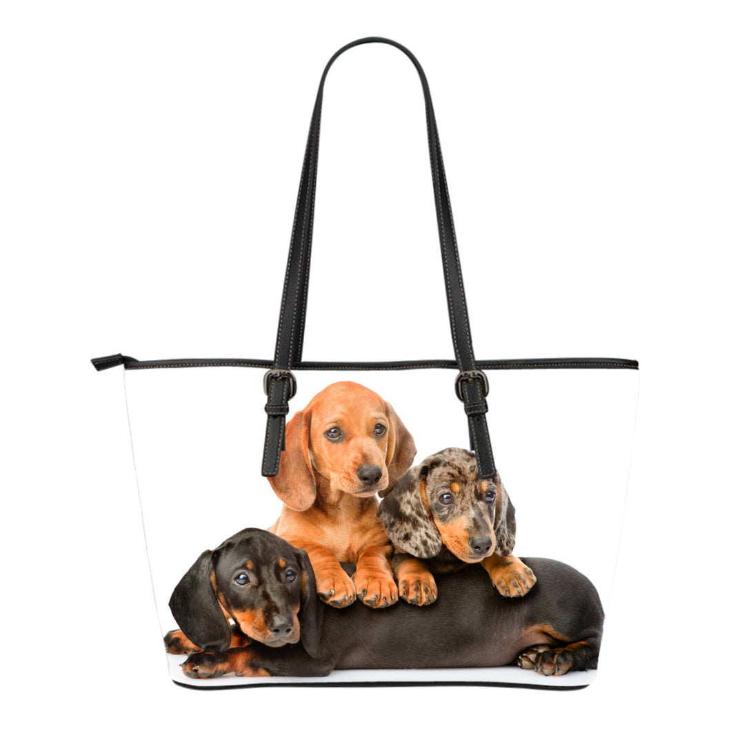 Dachshund Small Leather Tote Bag