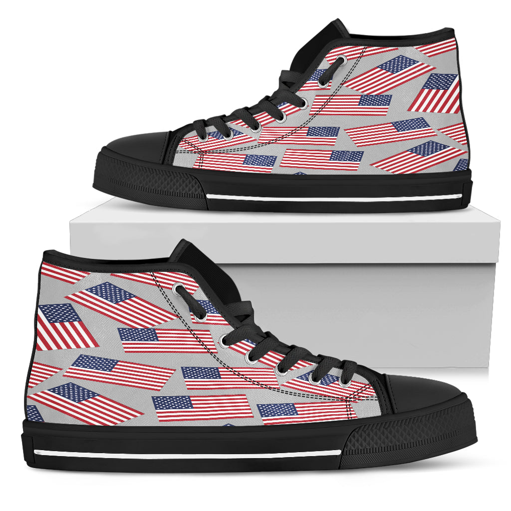 American Pride Men's High Top Sneaker (silver bg - black lace)