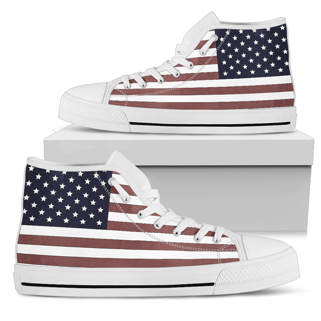 US Flag (White Soles) Women's High Top Sneaker
