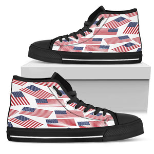 American Pride Men's High Top Sneaker (white bg - black lace)
