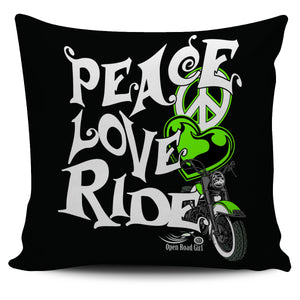 Green Peace Love Ride Pillow Cover