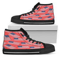 American Pride Men's High Top Sneaker (red bg - black lace)
