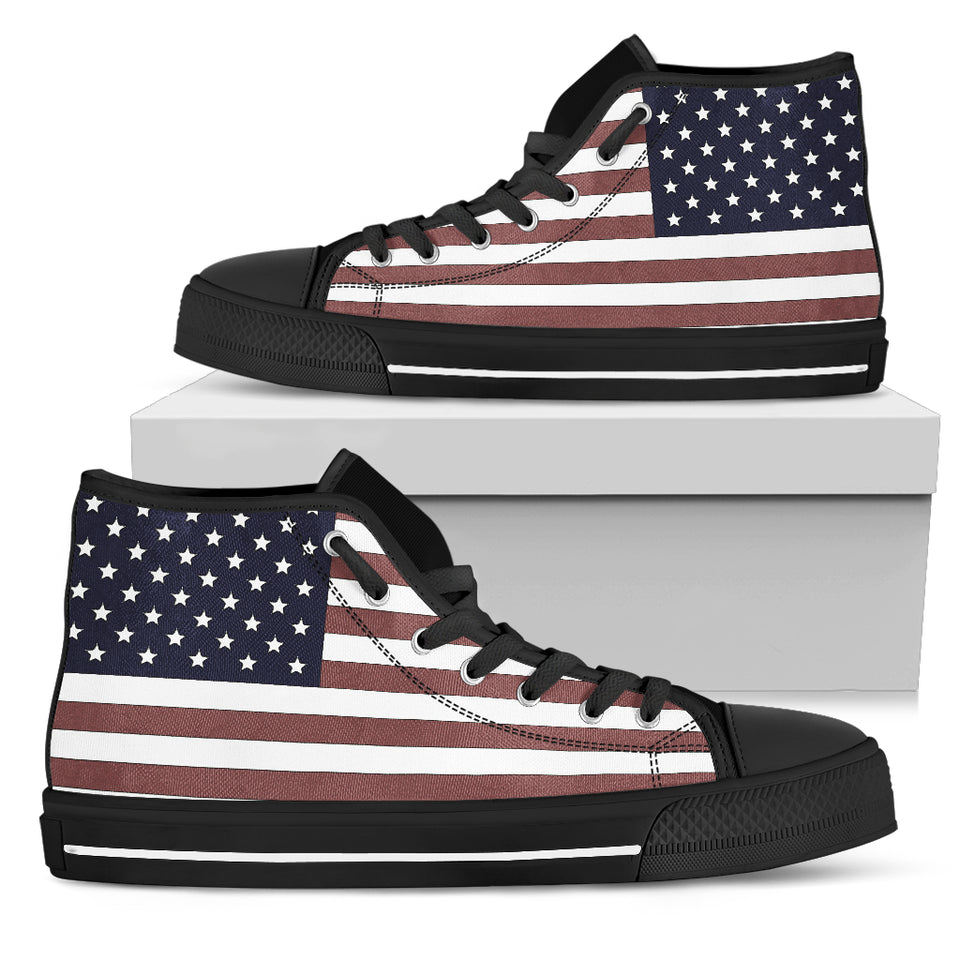 US Flag (Black Soles) Women's High Top Sneaker