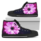 Purple Daisy (Black Soles) Women's High Top Sneaker