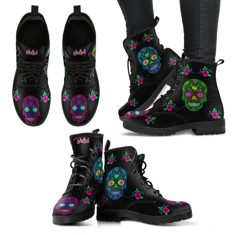 Wicked Skulls Leather Boots