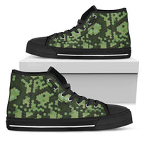 Black and Green Camouflage Men's High Top Sneaker