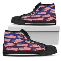 American Flag Pride Men's High Top Sneaker (black lace)