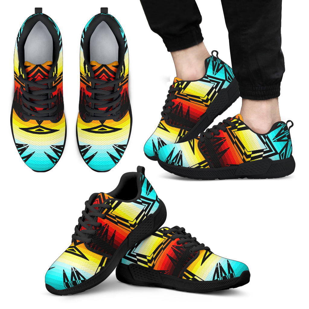 Fire and Turquoise with Black New Sopo Men's Athletic Sneaker