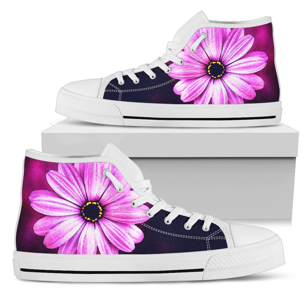 Purple Daisy (White Soles) Women's High Top Sneaker