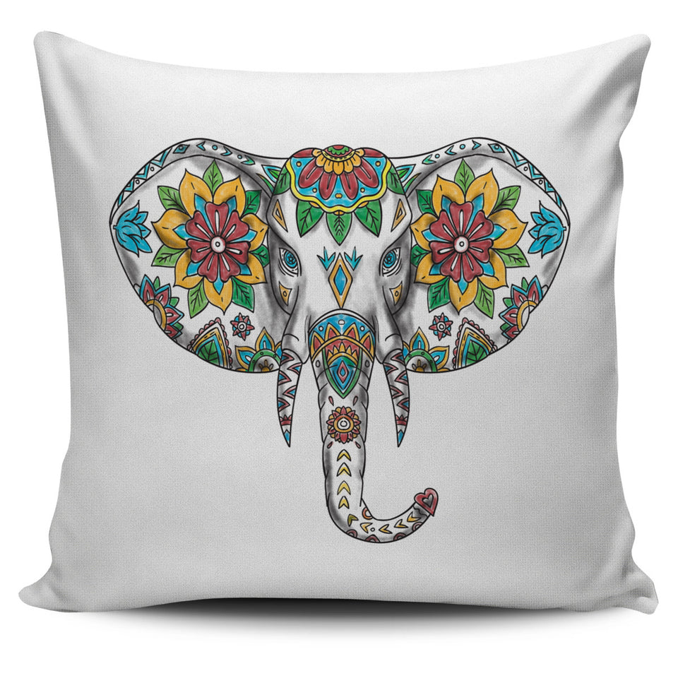 Boho Floral Elephant Pillow Cover