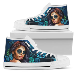 Calavera Turquoise (White Soles) Women's High Top Sneaker