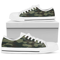 Black and Green Camouflage White Tip Men's Low Top Sneaker
