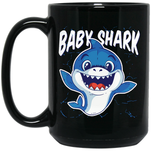 Baby Shark 15 oz Black Mug
