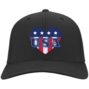 USA Heart Flex Fit Twill Baseball Cap