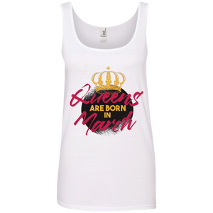 Queens Are Born In March 100% Ringspun Cotton Tank Top