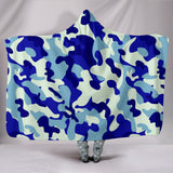 Camouflage Blue Hooded Blanket