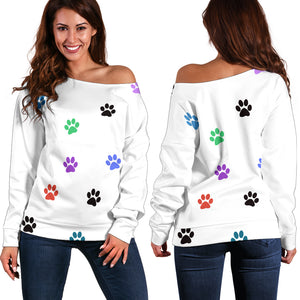 Paw Prints Women's Off Shoulder Sweater