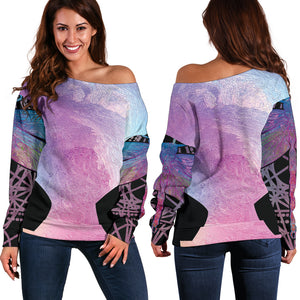 Smile Dragonfly Flow Women's Off Shoulder Sweater