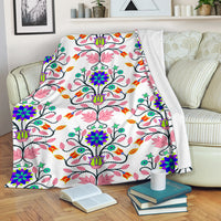 Floral Beadwork Four Clans White Ultra-Soft Micro Fleece Premium Blanket
