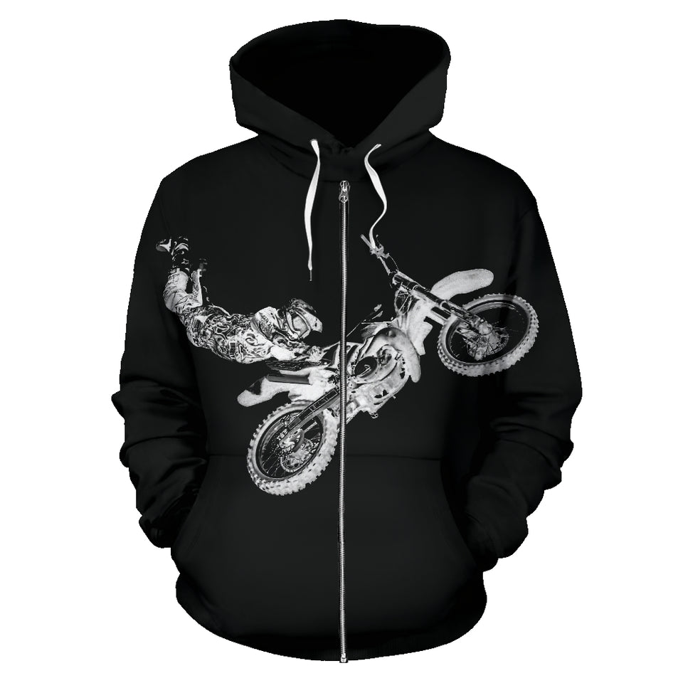 All Over Zip Up Hoodie - Biker