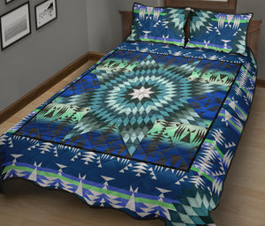 Teal Star Quilt Bed Set
