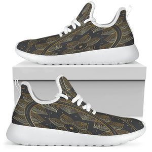 Mesh Golden Lotus Mandala Men's White Sole