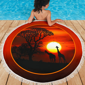 Giraffe Sunset Beach Blanket