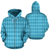 Blue Argyle All Over Zip Up Hoodie