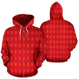 Red Argyle All Over Zip Up Hoodie