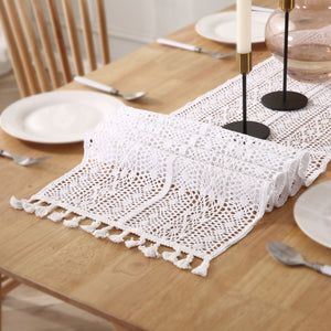 White Macramé Crochet Table Runner