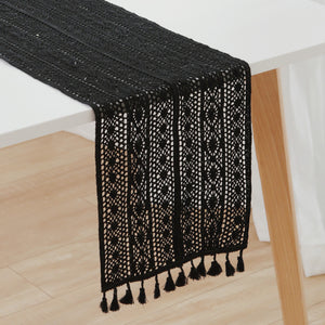 Black Macramé Crochet Table Runner