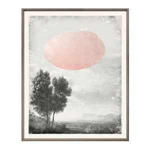 Glass Frame Wall Art Mod Landscape Tree Pink