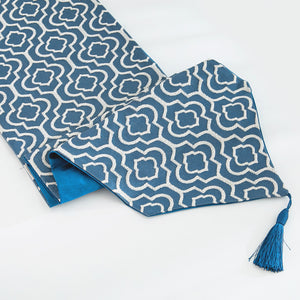 Blue Cotton Jacquard Table Runner