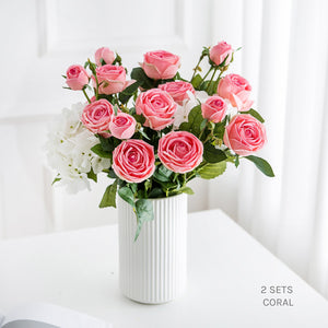 Real Touch Roses and Hydrangea - Coral