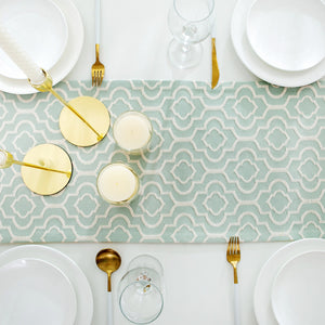Turquoise Cotton Jacquard Table Runner