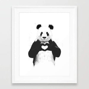 Black and White Panda Holding Heart Wall Art