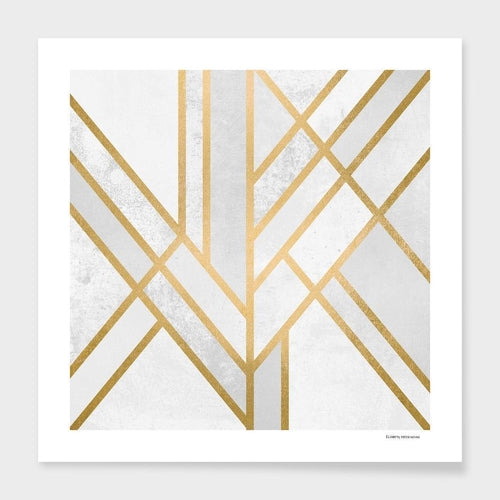 Art Deco Geometry Pillow Gold Lines Home Decor