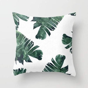 Banana Leaf Watercolor Pattern Cushion Pillow Decorative Home Decor