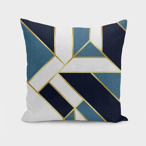 geometric pillow cushion decorative home decor gold lines