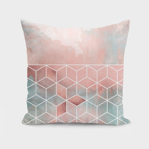 Rose Clouds And Cubes Pillow Case