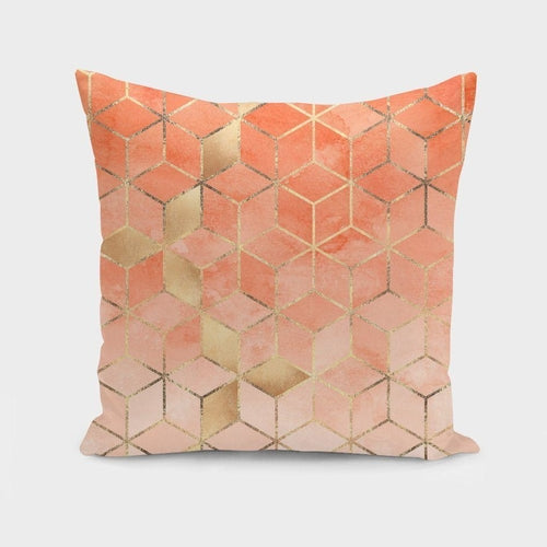 Soft Peach Gradient Cubes Pillow Case