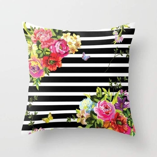 Stripes Floral Pillow Case