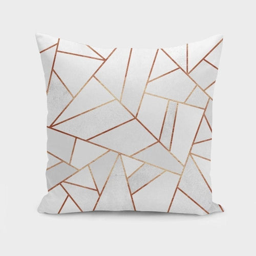 White Stone and Copper Lines Pillow Case