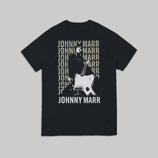 JOHNNY MARR WHITE GUITAR BLACK T-SHIRT