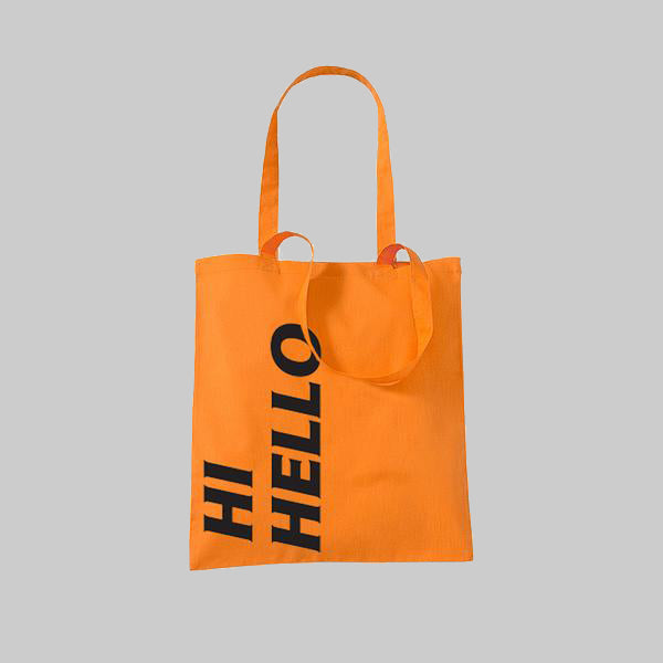 HI HELLO ORANGE TOTE BAG